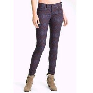 Free People : Purple Ikat Print Skinny Jeans